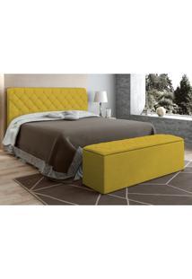 Cabeceira Com Calçadeira Baú Paris Para Colchão Box De 160 Cm Canário Sued Nest - Js Móveis