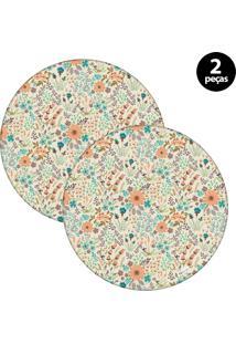 Sousplat Mdecore Floral 32X32Cm Bege 2Pçs