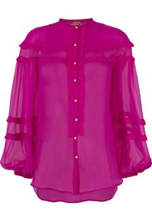Nº21 Blusa Translúcida De Seda - Rosa