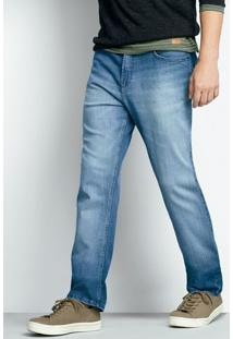 Calça Jeans Masculina Slim Em Algodão Com Lavação Clara