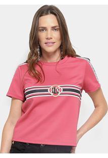 Camiseta Lança Perfume Listras Logo Feminina - Feminino-Rosa