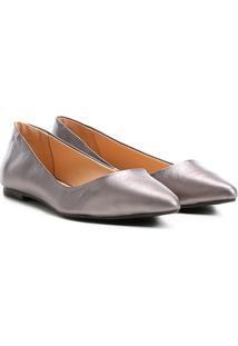 Sapatilha Couro Shoestock Bico Fino Metalizada Feminina - Feminino-Chumbo