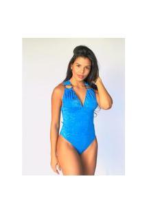Maiô Sônia Estampado Azul Piscina -