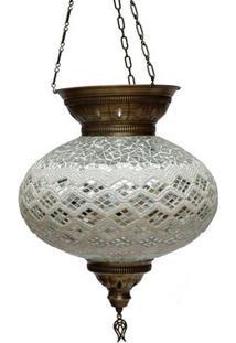 Lustre Turco Em Mosaico Branco 40X33Cm