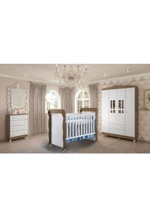 Dormitório Guarda Roupa Ariel 4Portas/Cômoda 4 Gavetas E Berço Mirelle Amadeirado Carolina Baby