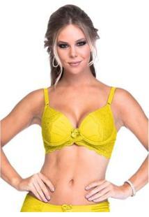 Sutiã Sempre Sensual Lingerie Cruzado Renda Base E Bojo - Feminino-Amarelo