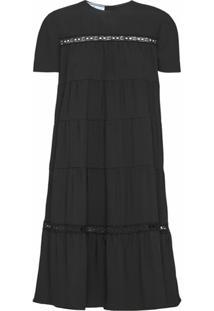 Prada Vestido Decote Arredondado - Preto