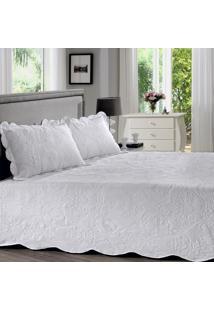 Colcha Em Matelassê Com Porta Travesseiro King Ava Branco 3 Peças - Ornare - Buettner