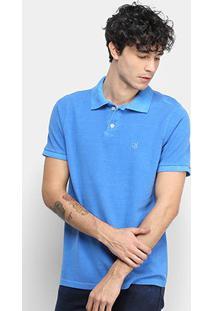 Camisa Polo Derek Ho Tinturada Piquet Básica Masculina - Masculino-Azul Royal
