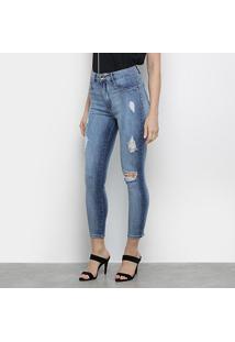 Calça Jeans Lança Perfume Skinny Super High Ankle Puídos Feminina - Feminino-Azul Claro+Azul
