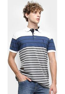 Camisa Polo Aleatory Fio Tinto Listrada Masculina - Masculino-Branco+Azul