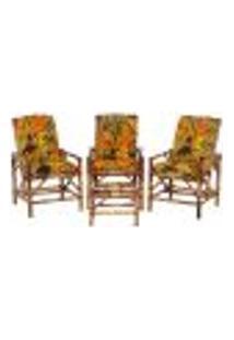 Conjunto Mesa E 3 Cadeiras De Bambu Cancun Para Área Edicula Jardim G15