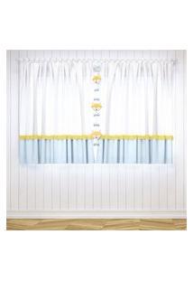 Cortina Quarto Bebê Azul E Amarelo 1,50M Gráo De Gente Amarelo