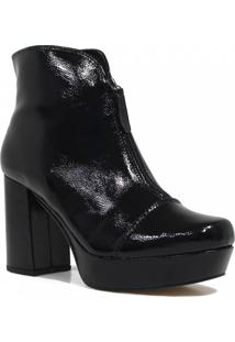 Bota Zariff Shoes Ankle Boot Verniz Preto