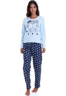 Pijama Long Soft Luna Cuore Feminino - Feminino-Marinho