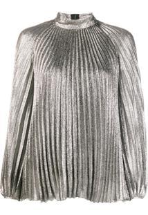 Giambattista Valli Metallic Pleated Blouse - Prateado