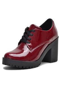 Botinha Ankle Boot Bota Salto Verniz Bordo 5201