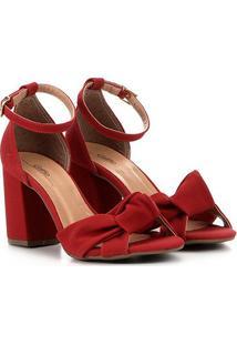 Sandália Griffe Salto Grosso Nó Feminina - Feminino-Vermelho Escuro