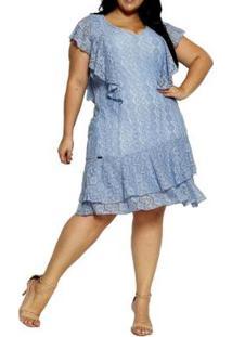 Vestido Youtwo Manga Curta Plus Size - Feminino-Azul