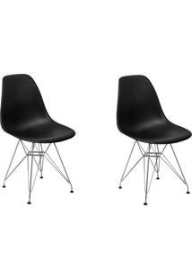 Cadeira E Banco De Jantar Impã©Rio Brazil Charles Eames Eiffel Base Metal - Incolor/Preto - Dafiti