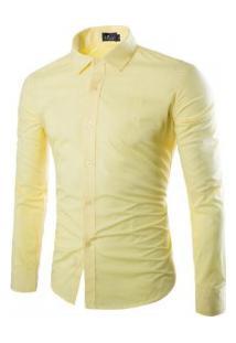 Camisa Social Masculina Slim Manga Longa - Amarelo Claro