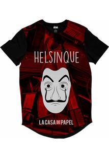 Camiseta Longline Attack Life La Casa De Papel Helsinque Sublimada Vermelho