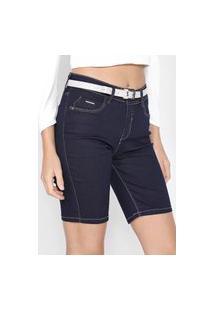 Bermuda Jeans Lunender Skinny Pesponto Azul-Marinho