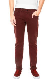 Calça Sarja Calvin Klein Jeans Detalhe Slim Vinho
