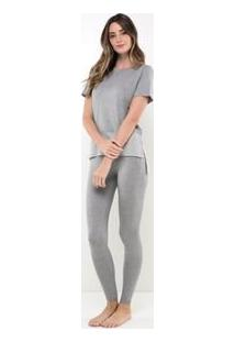 Pijama Manga Curta Mescla Com Barra Listrada