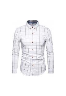 Camisa Masculina Xadrez Kansas - Branca