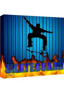 Quadro Impressão Digital Skate Azul 30X30Cm Uniart