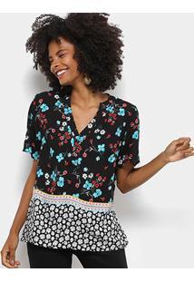 Camisa Mi Manga Curta Feminina - Feminino-Preto