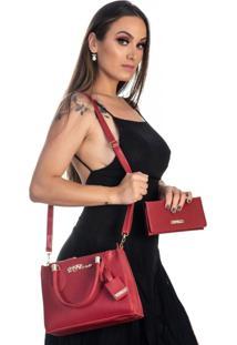 Kit Bolsa + Carteira Feminina Fashion Estilo Blogueira Vermelho - Kanui