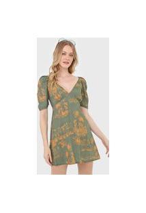 Vestido Oh, Boy! Curto Est Woodstock Verde/Amarelo