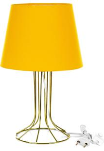 Abajur Torre Dome Amarelo Com Aramado Dourado - Amarelo - Dafiti