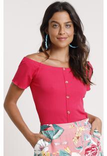 Blusa Feminina Ombro A Ombro Canelada Com Botões Manga Curta Pink