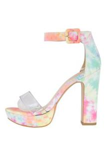 Sandália Salto Grosso Week Shoes Meia Pata Vinil Tie Dye