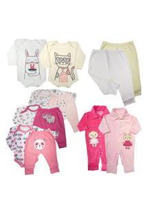 Kit 12 Pçs Roupa Bebê Enxoval Menino Menina Inverno Estiloso Rosa