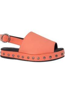 Sandália Sapatos E Botas Nobuck Tachas Feminina - Feminino-Coral