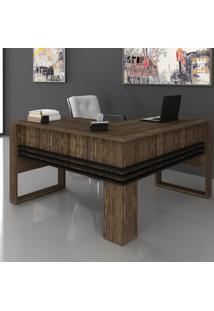 Mesa Para Escritório Angular Me4145 Nogal/Preto - Tecno Mobili