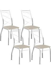 Cadeira 1710 Cromada 04 Unidades Retrô Metalizado Carraro