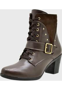 Bota Feminina Cano Curto De Couro Com Salto Café Atron Shoes - Tricae