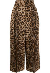 Dolce & Gabbana Calça Cropped Animal Print - Marrom