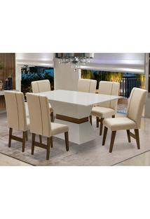 Conjunto De Mesa Para Sala De Jantar Com 6 Cadeira Monaco-Dobue - Branco Off / Castanho / Creme