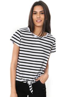 Camiseta Fiveblu Amarração Listrada Branca/Preta