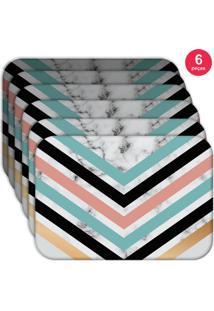 Jogo Americano Love Decor Wevans Geometric Marble Kit Com 6 Pçs