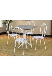 Jogo De Mesa Artefamol E 04 Cadeiras Thais Com Tampo Em Mdf Branca Com Assento Capitone