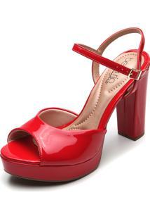 Sandália Beira Rio Verniz Vermelha