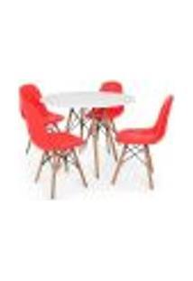 Conjunto Mesa Eiffel Branca 80Cm + 4 Cadeiras Dkr Charles Eames Wood Estofada Botonê Vermelha