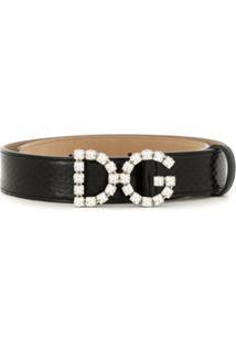 Dolce & Gabbana Cinto De Couro Com Aplicação - Preto